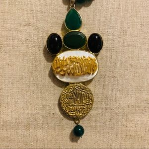 Arabic Pendant Necklace in Jasper Strand